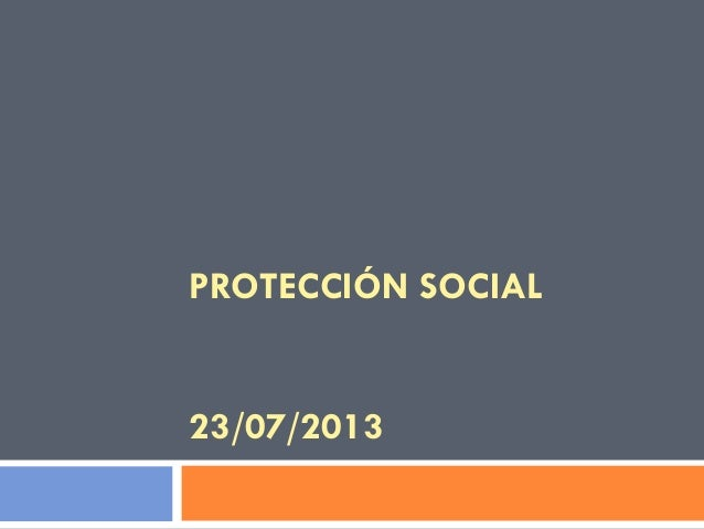 PROTECCIÓN SOCIAL 23/07/2013
