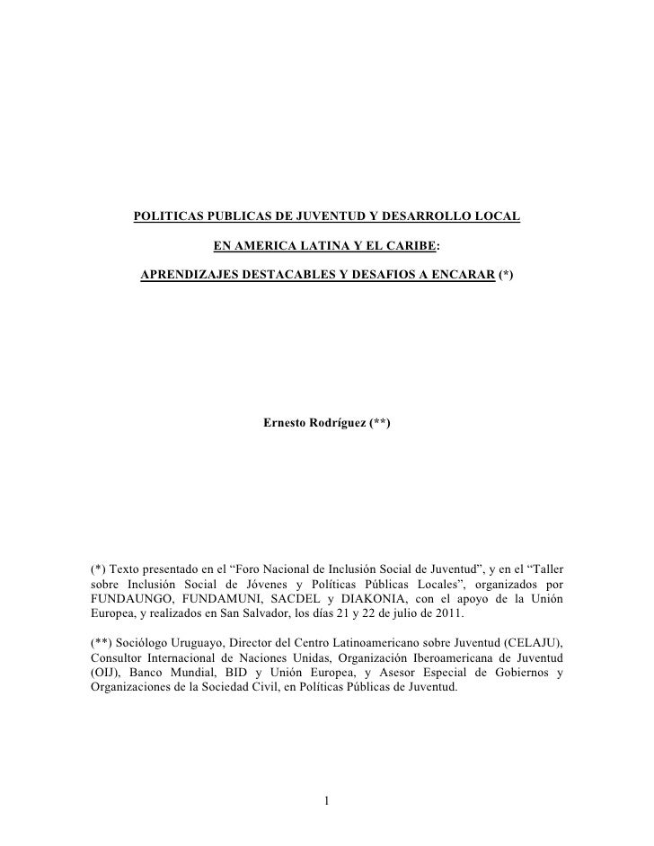 POLITICAS PUBLICAS DE JUVENTUD Y DESARROLLO LOCAL                       EN AMERICA LATINA Y EL CARIBE:         APRENDIZAJE...