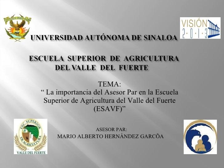 "<ul><li>TEMA: </li></ul><ul><li>""  La importancia del Asesor Par en la Escuela Superior de Agricultura del Valle del Fuert..."