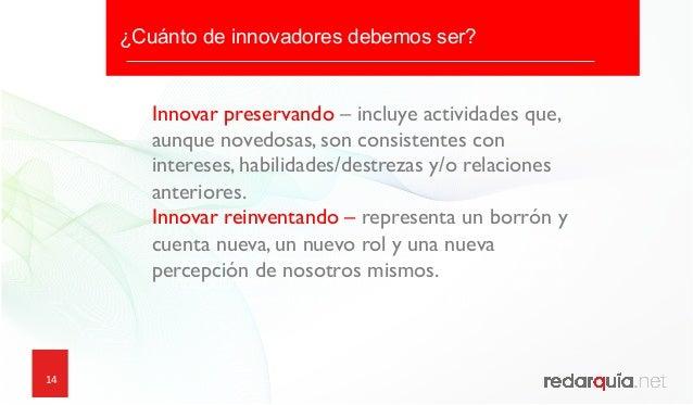 14 14 ¿Cuánto de innovadores debemos ser? ¿Que podemos aprender de los emprendedores? ¿Cómo comienzan los emprendedores c...