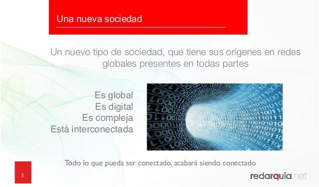 3 Un nuevo tipo de sociedad, que tiene sus orígenes en redes globales presentes en todas partes Es global Es digital Es c...