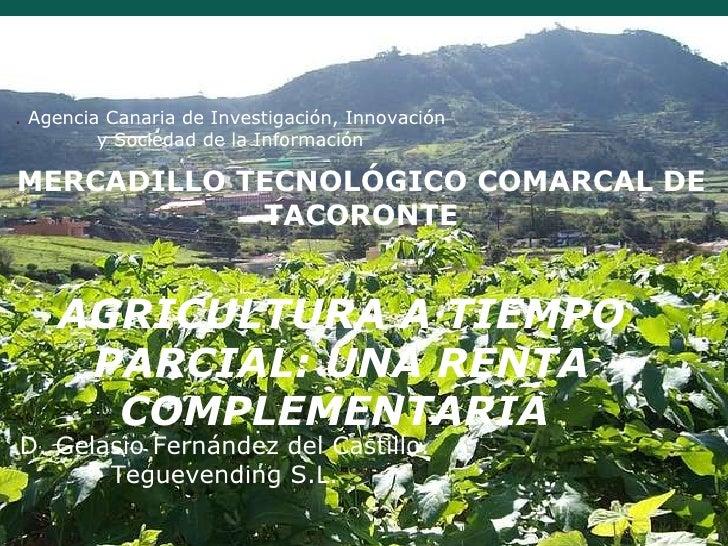 MERCADILLO TECNOLÓGICO COMARCAL DE TACORONTE AGRICULTURA A TIEMPO PARCIAL: UNA RENTA COMPLEMENTARIA  D. Gelasio Fernández ...