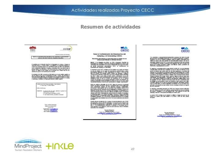 Actividades realizadas Proyecto CECCCONVOCATORIA DE                   NOTA DE PRENSA    PRENSA        Resumen de actividad...