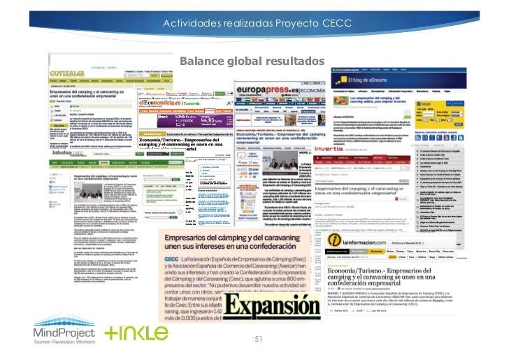 Actividades realizadas Proyecto CECC   Balance global resultados                 51