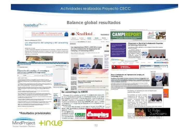 Actividades realizadas Proyecto CECC                               Balance global resultados*Resultados provisionales     ...