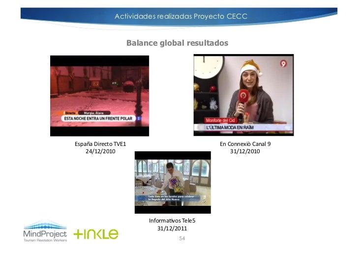 Actividades realizadas Proyecto CECC                            Balance global resultadosEspaña Directo TVE1        ...