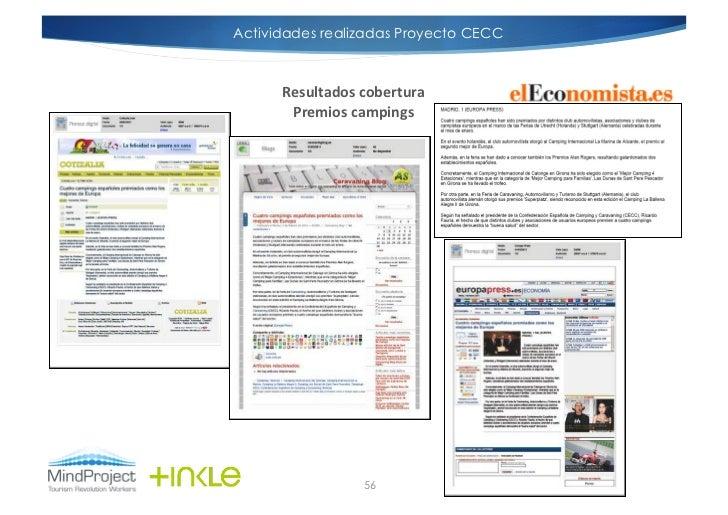 Actividades realizadas Proyecto CECC      Resultados cobertura        Premios campings                      56