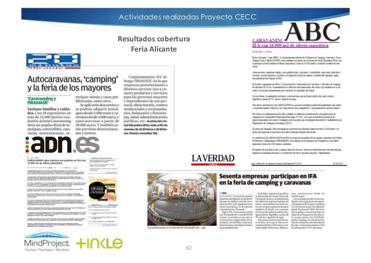 Actividades realizadas Proyecto CECCResultados cobertura    Feria Alicante                         60