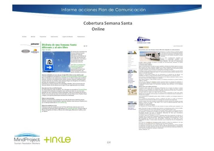 Informe acciones Plan de Comunicación         Cobertura Semana Santa             Online                         64