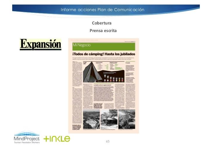 Informe acciones Plan de Comunicación             Cobertura             Prensa escrita                         65