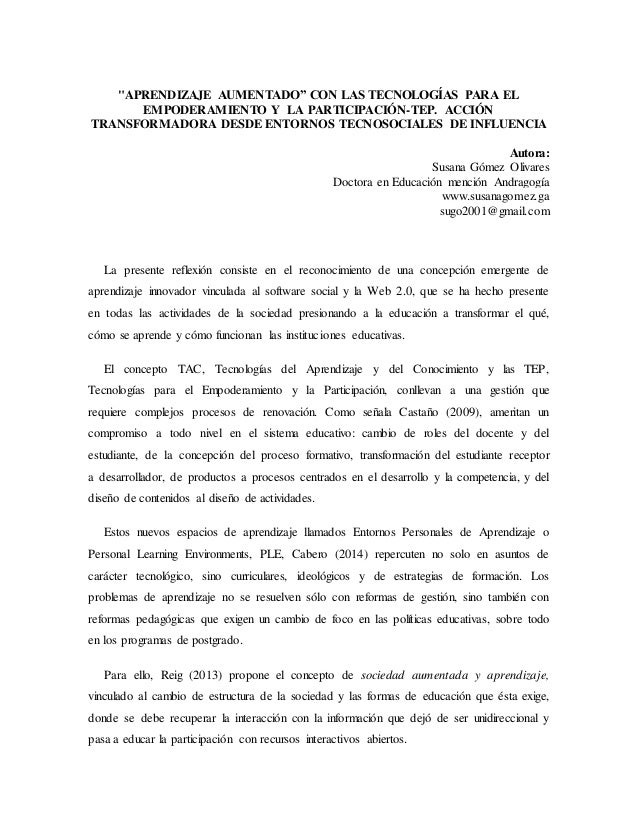 """""""APRENDIZAJE AUMENTADO"""" CON LAS TECNOLOGÍAS PARA EL EMPODERAMIENTO Y LA PARTICIPACIÓN-TEP. ACCIÓN TRANSFORMADORA DESDE ENT..."""