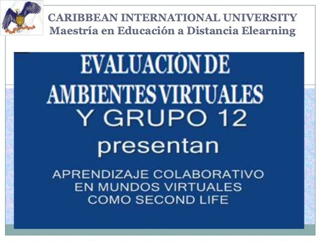 CARIBBEAN INTERNATIONAL UNIVERSITY Maestría en Educación a Distancia Elearning  EVALUACIÓN DE AMBIENTES VIRTUALES