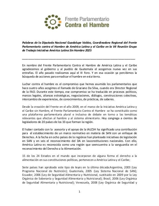 Palabras de la Diputada Nacional Guadalupe Valdez, Coordinadora Regional del Frente Parlamentario contra el Hambre de Amér...