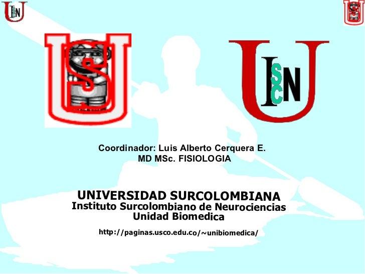 UNIVERSIDAD SURCOLOMBIANA Instituto Surcolombiano de Neurociencias Unidad Biomedica http://paginas.usco.edu.co/~unibiomedi...