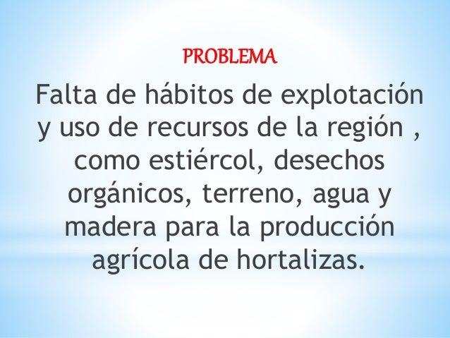 PROBLEMA Falta de hábitos de explotación y uso de recursos de la región , como estiércol, desechos orgánicos, terreno, agu...