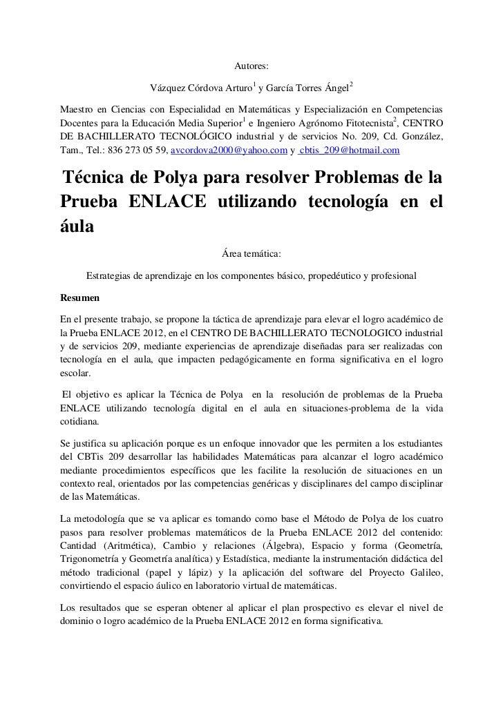 Autores:                      Vázquez Córdova Arturo1 y García Torres Ángel2Maestro en Ciencias con Especialidad en Matemá...