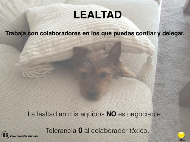 LEALTAD Tolerancia 0 al colaborador tóxico. Trabaja con colaboradores en los que puedas confiar y delegar. La lealtad en m...