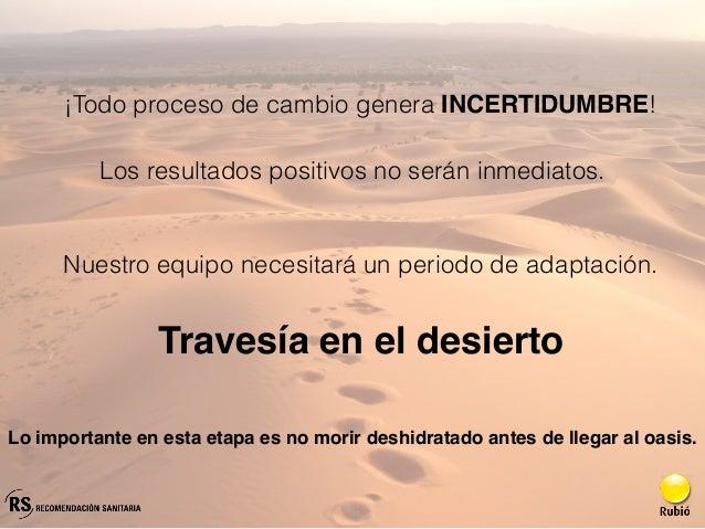 Travesía en el desierto ¡Todo proceso de cambio genera INCERTIDUMBRE! Nuestro equipo necesitará un periodo de adaptación. ...