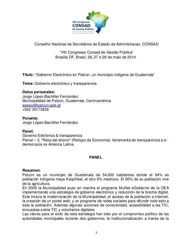 """1 Conselho Nacional de Secretários de Estado da Administracao, CONSAD """"VIII Congresso Consad de Gestão Pública"""" Brasilia D..."""