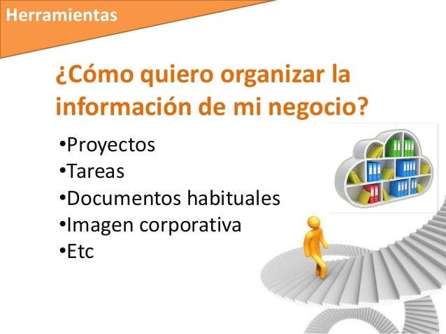 Herramientas     ¿Cómo quiero organizar la     información de mi negocio?     •Proyectos     •Tareas     •Documentos habit...