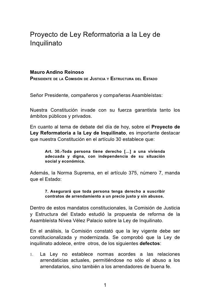 Proyecto de Ley Reformatoria a la Ley deInquilinatoMauro Andino ReinosoPRESIDENTE DE LA COMISIÓN DE JUSTICIA Y ESTRUCTURA ...