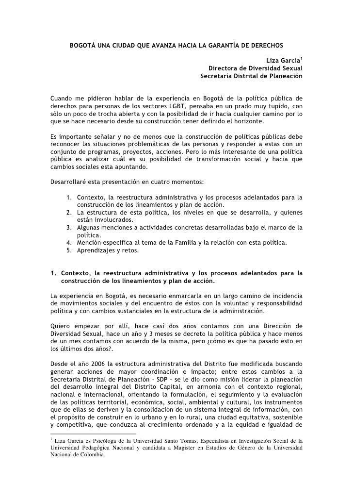 BOGOTÁ UNA CIUDAD QUE AVANZA HACIA LA GARANTÍA DE DERECHOS                                                                ...