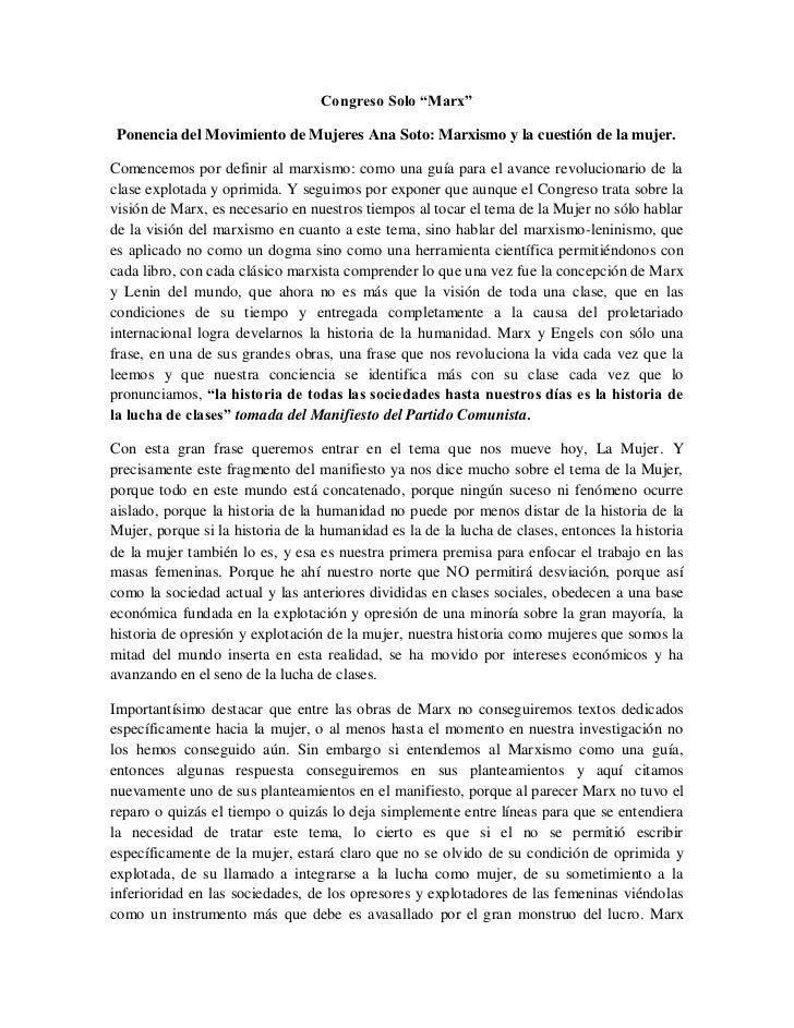 """Congreso Solo """"Marx"""" Ponencia del Movimiento de Mujeres Ana Soto: Marxismo y la cuestión de la mujer.Comencemos por defini..."""