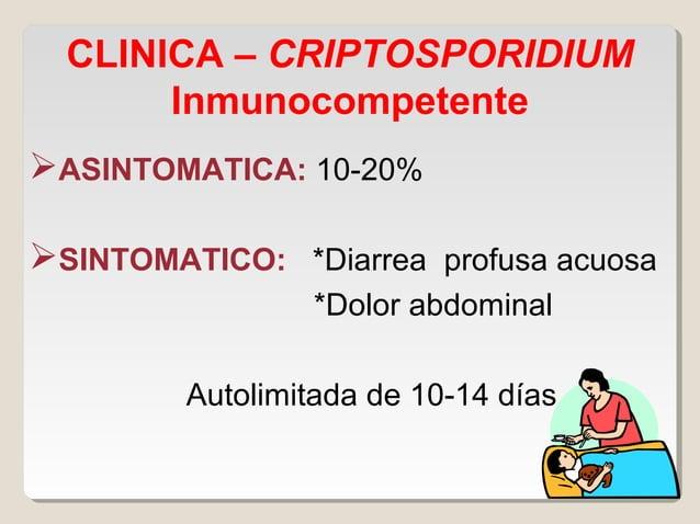 Cyclospora cayetanensis  Cryptosporidium  Cryptosporidium Parásito oportunista frecuente en pacientes con SIDA Infección...