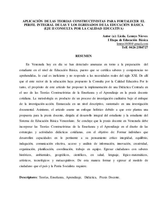 APLICACIÓN DE LAS TEORIAS CONSTRUCTIVISTAS PARA FORTALECER EL PERFIL INTEGRAL DE LAS Y LOS EGRESADOS DE LA EDUCACIÓN BÁSIC...
