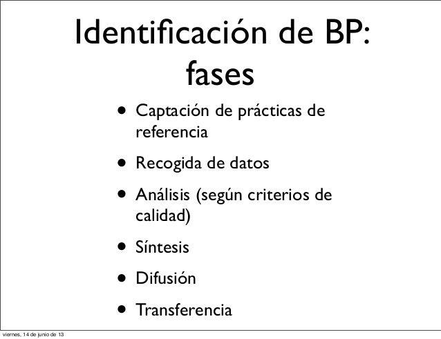 Identificación de BP:fases• Captación de prácticas dereferencia• Recogida de datos• Análisis (según criterios decalidad)• S...