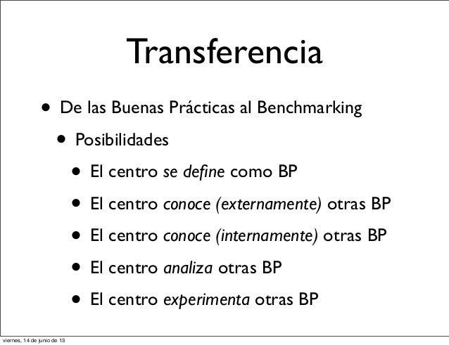 Transferencia• De las Buenas Prácticas al Benchmarking• Posibilidades• El centro se define como BP• El centro conoce (exter...