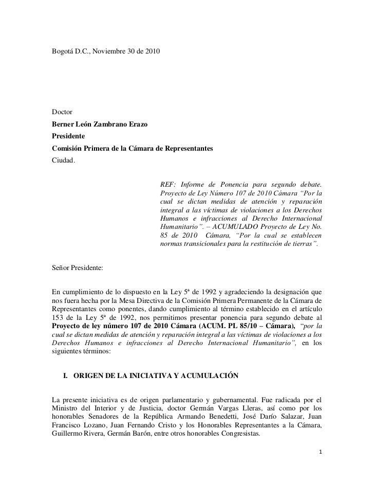 Ponencia segundo debate Ley de Víctimas Cámara. - photo#21