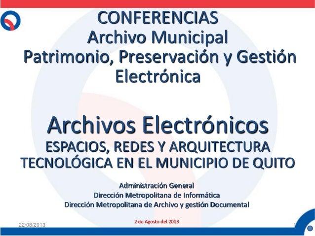 CONFERENCIAS Archivo Municipal Patrimonio, Preservación y Gestión Electrónica Archivos Electrónicos ESPACIOS, REDES Y ARQU...