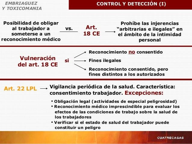 """Posibilidad de obligar al trabajador a someterse a un reconocimiento médico vs. Art. 18 CE Prohíbe las injerencias """"arbitr..."""