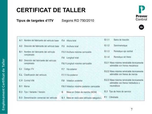 7 Tipus de targetes d'ITV Segons RD 750/2010 EmplenamentCer,ficatdeTaller CERTIFICAT DE TALLER1