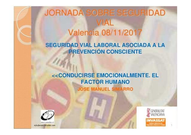 JORNADA SOBRE SEGURIDADJORNADA SOBRE SEGURIDAD VIALVIAL Valencia 08/11/2017Valencia 08/11/2017 SEGURIDAD VIAL LABORAL ASOC...