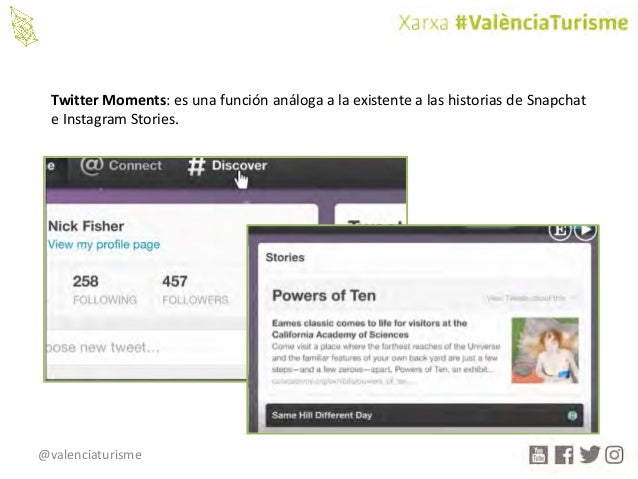 @valenciaturisme TwitterMoments:esunafunciónanálogaalaexistentealashistoriasdeSnapchat eInstagramStories.
