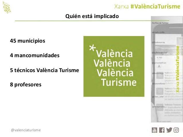 @valenciaturisme 45municipios 4mancomunidades 5técnicosValència Turisme 8profesores Quiénestáimplicado
