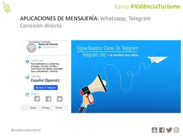 @valenciaturisme APLICACIONESDEMENSAJERÍA:Whatsapp,Telegram Conexióndirecta