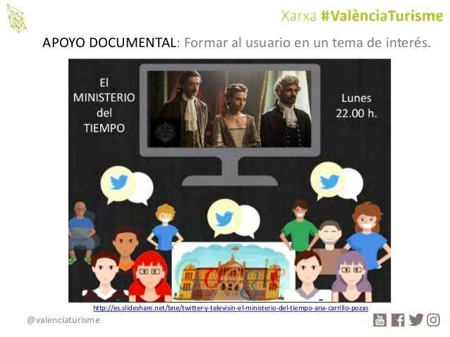 @valenciaturisme APOYODOCUMENTAL:Formaralusuarioenuntemadeinterés. http://es.slideshare.net/bne/twitter-y-televis...