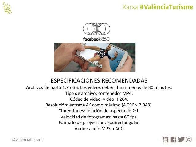 @valenciaturisme ESPECIFICACIONESRECOMENDADAS Archivosdehasta1,75GB.Losvideosdebendurarmenosde30minutos. Tipo...