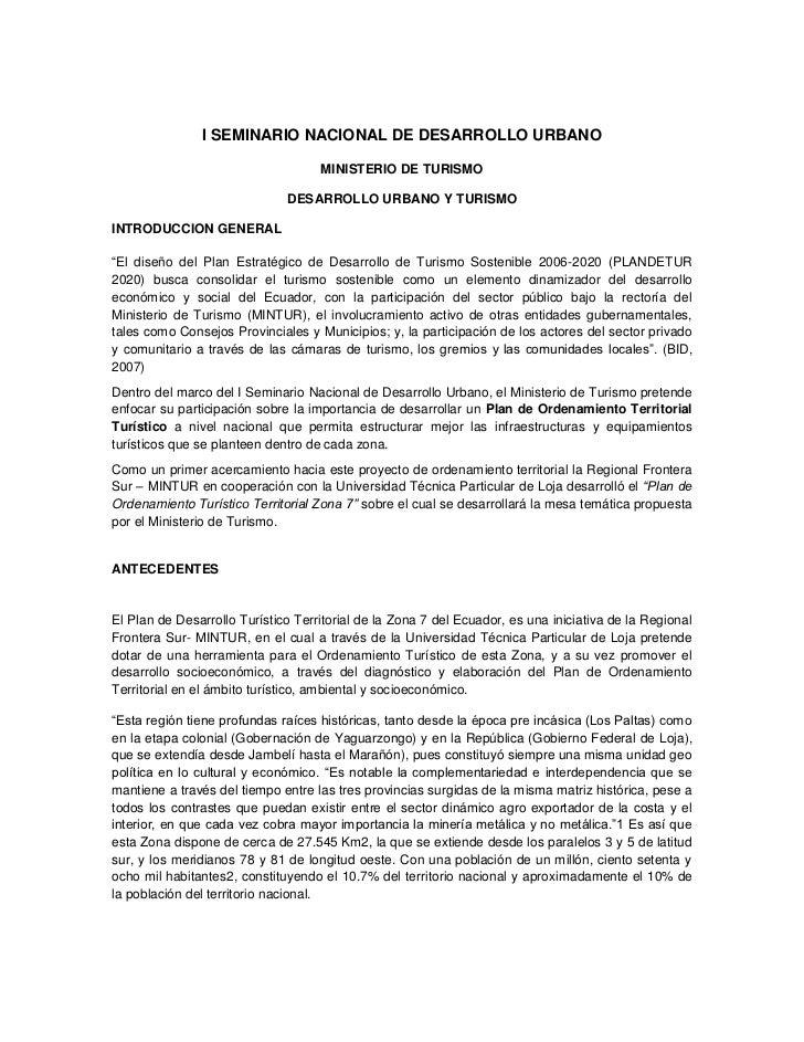 I SEMINARIO NACIONAL DE DESARROLLO URBANO                                    MINISTERIO DE TURISMO                        ...