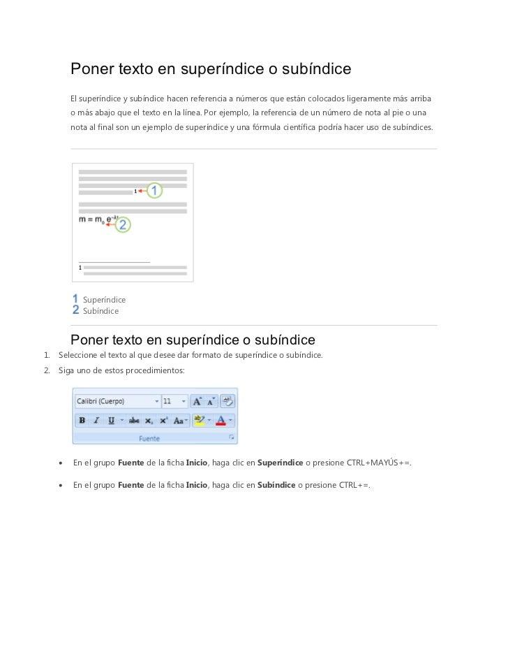 Poner texto en superíndice o subíndice