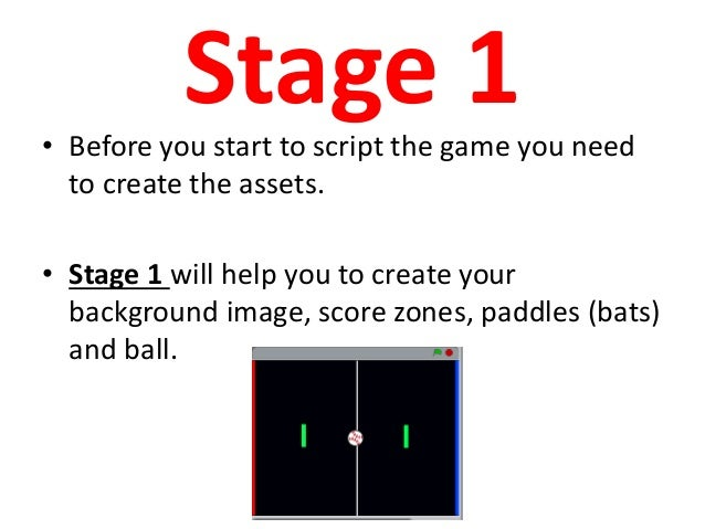 Pong on SCRATCH Directions