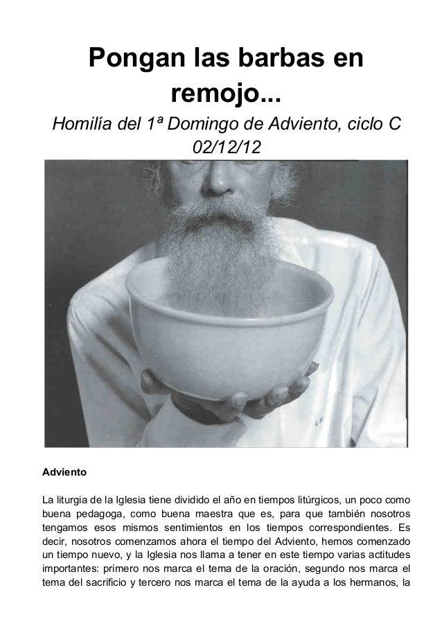 Pongan las barbas en                remojo...  Homilía del 1ª Domingo de Adviento, ciclo C                   02/12/12Advie...
