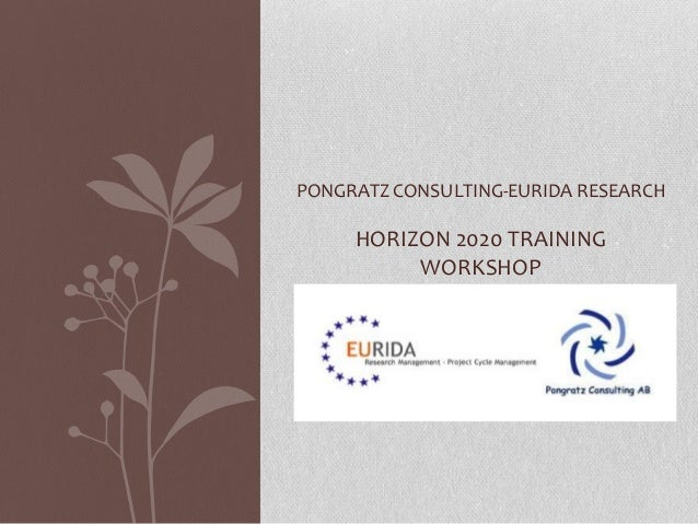 PONGRATZ CONSULTING-EURIDA RESEARCH  HORIZON 2020 TRAINING WORKSHOP