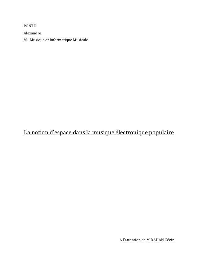 PONTE   Alexandre   M1  Musique  et  Informatique  Musicale                              ...