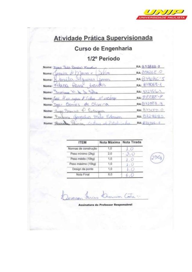 UNIP - UNIVERSIDADE PAULISTA Instituto de Ciências Exatas e Tecnologia - ICET Curso de Engenharia  PONTE DE MACARRÃO RA: B...
