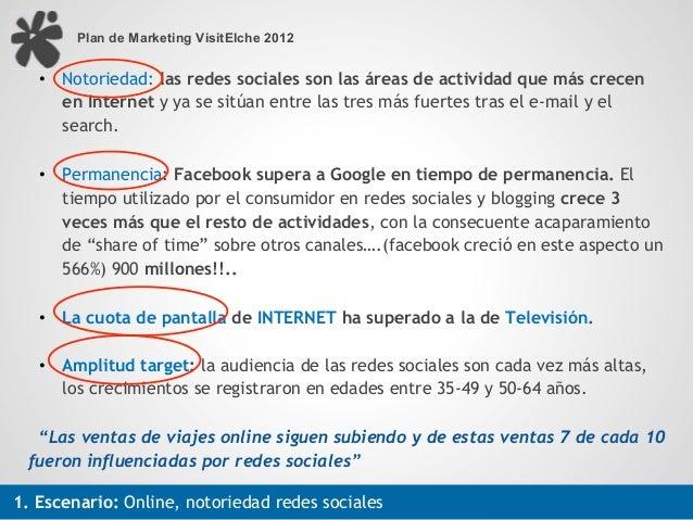 Plan de Marketing VisitElche 2012   •! Notoriedad: las redes sociales son las áreas de actividad que más crecen      en In...