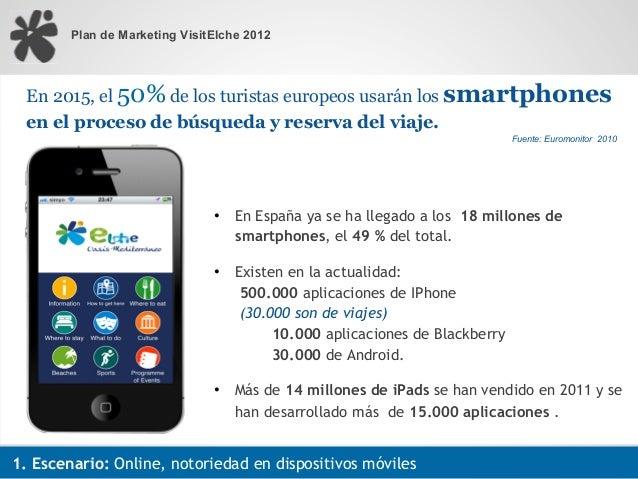 Plan de Marketing VisitElche 2012  En 2015, el 50% de los turistas europeos usarán los smartphones  en el proceso de búsqu...